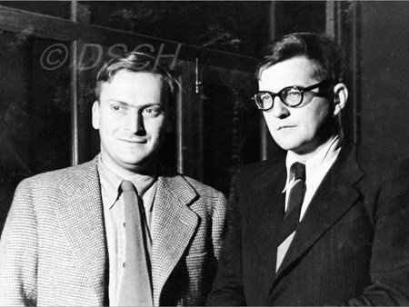 <p>Yehudi Menuhin and Dmitri Shostakovich at VOKS. De…</p>