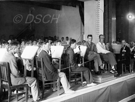 <p>Shostakovich and Mravinsky with the Leningrad Phil…</p>