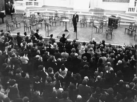 <p>Shostakovich on the stage of the Kapelle after the…</p>