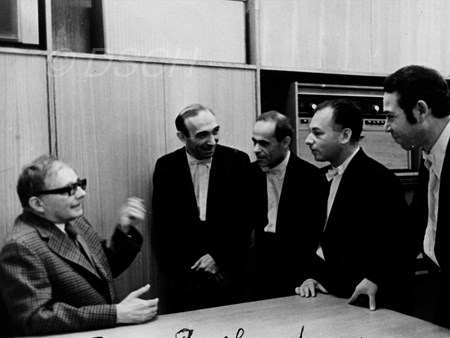<p>Shostakovich and the members of the Taneev Quartet…</p>