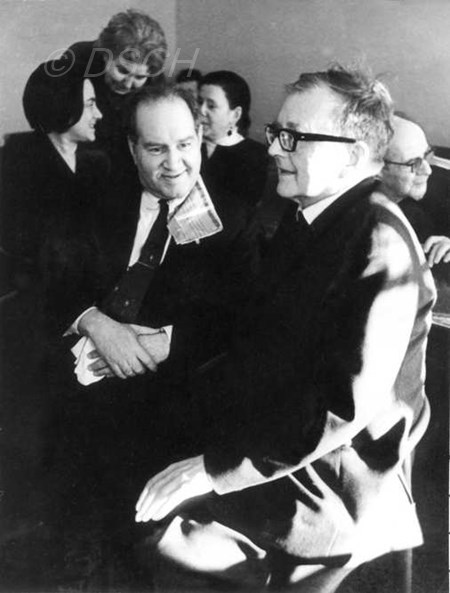 <p>With David Oistrakh after a hearing of the Sonata …</p>