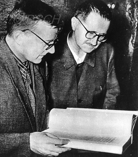 <p>Shostakovich and Brecht review the score. Berlin, …</p>