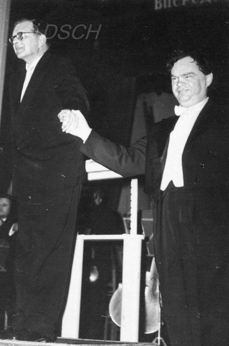 <p>D. Shostakovich and K. Ivanov on stage after the p…</p>
